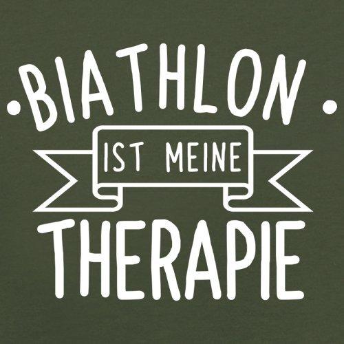 Biathlon ist meine Therapie - Herren T-Shirt - 13 Farben Olivgrün
