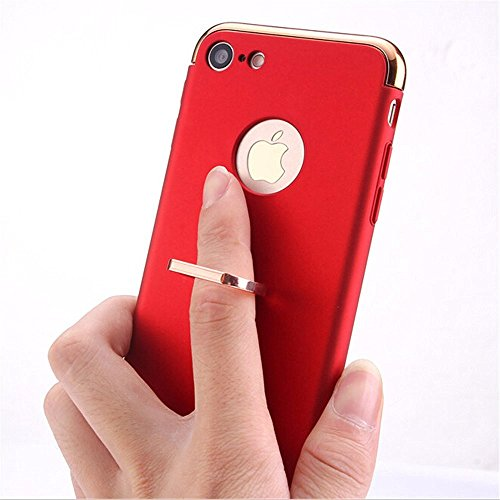UrCool 3 in 1 Ultra Thin and Slim Coated Premium Non Slip Matte Surface Electroplate Frame Plating Metal Texture Skin Hard Case Protector Cover With Ring Holder Stand for iPhone 7 Gold Ring 3in1 iPhone 7 Silver