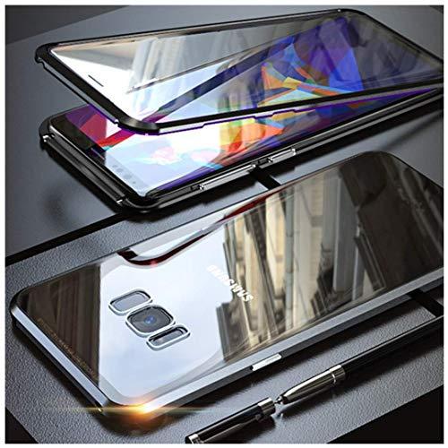JUNHENG Custodia Samsung Galaxy S8 Adsorbimento Magnetico Tech Metallo Flip Cover Doppio Vetro temperato Unibody Design Magneti potenti Cornice incorporata Protezione 360 Gradi Antiurto Cassa, Nero