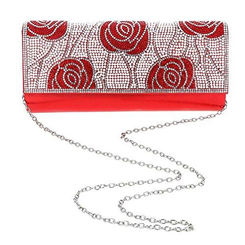 Damara® Edle Damen Abendtasche Künstlicher Perle Handtasche Mit Rose Blau
