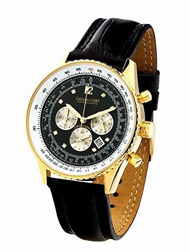 Calvaneo 1583 Herren-Armbanduhr Defcon Diamond Gold BLACK Analog Quarz Leder schwarz 35