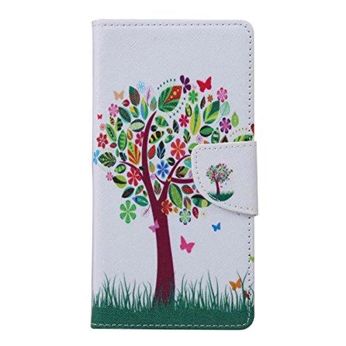 Etche Schutzhülle für iPhone 6/6S Plus 5.5 Zoll Ledertasche,iPhone 6/6S Plus 5.5 Zoll HandyHülle bunt Muster,iPhone 6/6S Plus 5.5 Zoll wallet Schutzhülle, niedlich bunt kreativ hübsch Blumen Flip Cove Baum