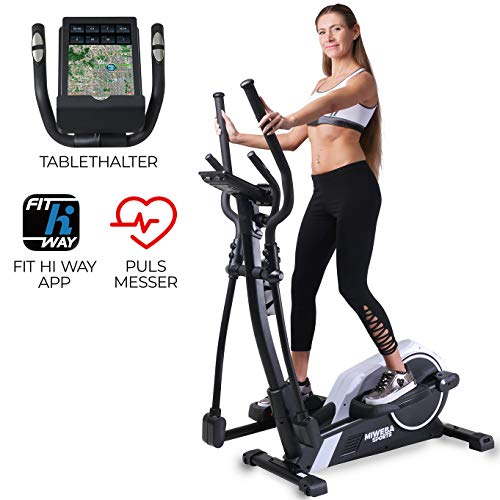 Miweba Sports Crosstrainer MC300 Stepper Ellipsentrainer Heimtrainer - App Steuerung - 21 Kg Schwungmasse - Pulsgurt - Magnetbremse (Weiß Schwarz)