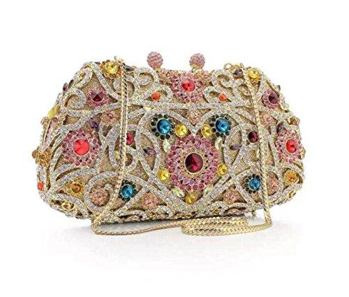 Diamanti Vintage Diamante Cena Borsa Borsa Borsa A Mano A Forma Di Cuore ColorB