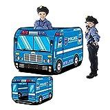 JINYJIA Tenda da gioco per bambini, parco giochi Indoor Indoor Kids Hut gioco giocattolo Easy Fold Playhouse, carino polizia Auto Bus Design Wendy House