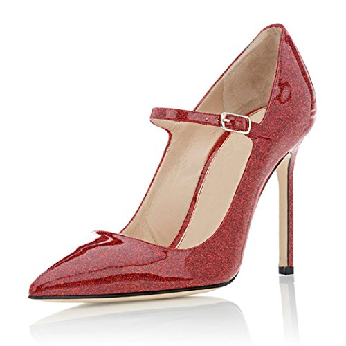 ELASHE Damen High Heels Pumps Bequem | Riemchen 10cm Stilettos | Mary Jane High Heel Pumps Glitter-Rot EU35