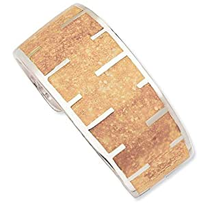 Sterling Silver Tan Resin and Sand Cuff Bracelet