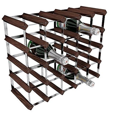 RTA Galvanised Steel/Mahogany Pine 25-Bottle Wine Rack, Brown