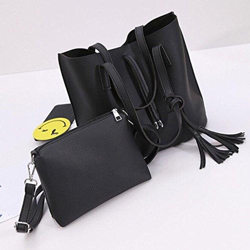Schultertaschen, Tatis Frauen Mode Quasten, große Kapazität, Mutter und Kind, einzelne Schulter schräge Kreuz Tasche (Braun) Schwarz