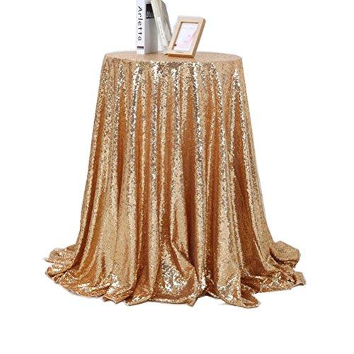 WINOMO tovaglia di Paillette tovaglia da Tavolo Decorativo per Matrimonio Ristorante cérémonie-80* 80cm (Dorato)