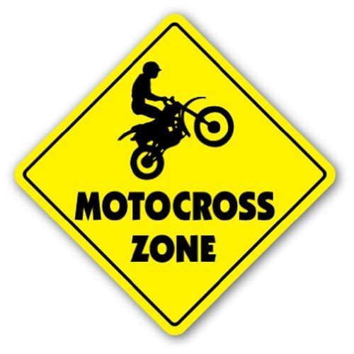 Neuheit Geschenk Motocross Zone Schild Dirt Bike Supercross Cycle Racing Tricks Track Racer BMX Yard Dekorative Aluminium Metall Türschild für Schlafzimmer, Büros