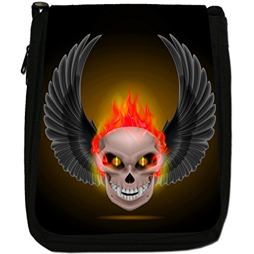 Flaming Fire Skulls Medium Nero Borsa In Tela, taglia M Red Flaming Fire Skulls