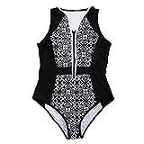 StarTreene Damen Bikini Streifen Design One Piece Bademode High Waist Strandkleidung Swimwear Beach