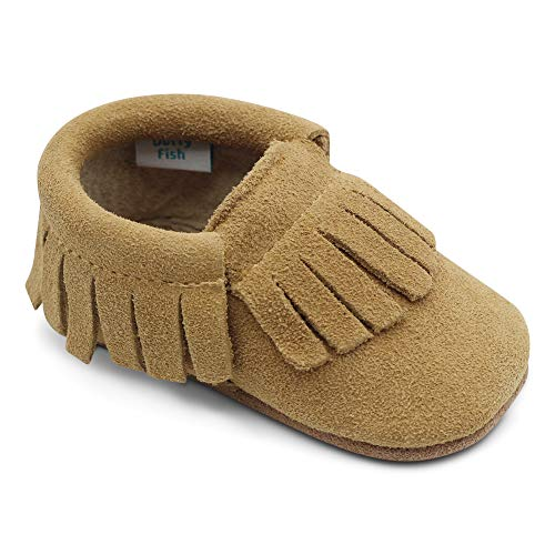 Dotty Fish Mokassins. Wildleder Babyschuhe mit weicher Sohle. rutschfest. Kinder Kleinkinder erste Schuhe. Jungen Mädchen. Hellbraun. 6-12 Monate (19 EU) -