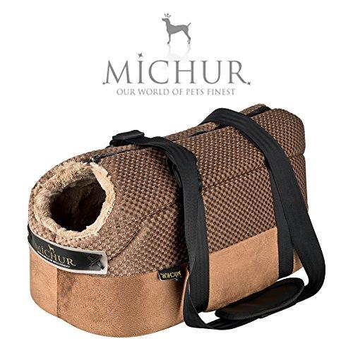 MICHUR Mia, Hundetransportbox, Katzentransportbox, Hundetragetasche, Handtasche, Tragetasche, Braun, in verschiedenen Größen lieferbar! -