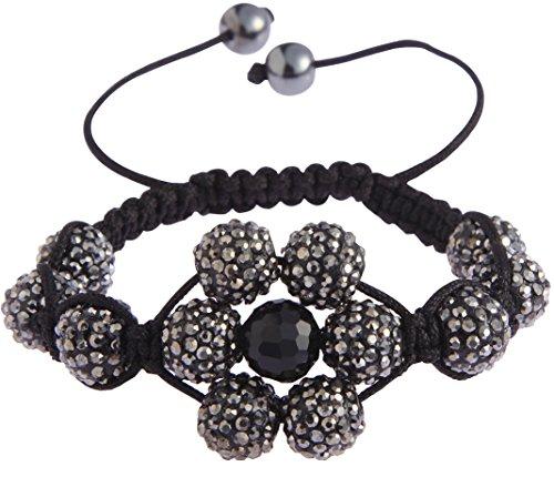 Ducomi® Kareena Zen Shamballa bracciale regolabile con 12 sfere cristallo 12 mm (Black)