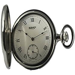 Bernex Swiss Made Mechanical Rhodium Plate Full Hunter Pocket Watch