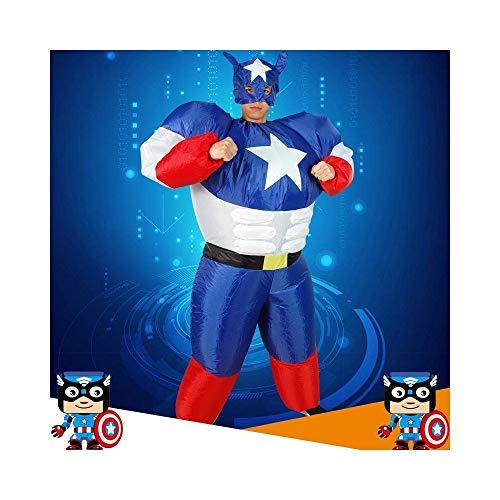 JZG Erwachsenen Halloween Aufblasbare Superman Captain America Kostüm Anzug Maskerade Party Entertainment Show Kleidung (Aufblasbares Superman Kostüm)