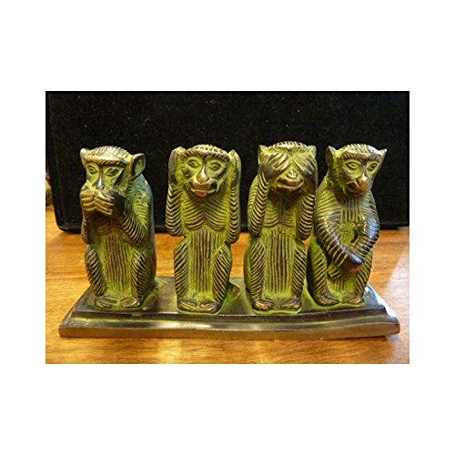 int. d'ailleurs - Bronze Les 4 Singes Patine Verte - BRZ084