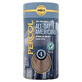 PERCOL Rainforest Alliance All Day Americano Instant Coffee Rich, Aromatic Full-Bodied Blend 100% Arabica Beans Freeze…