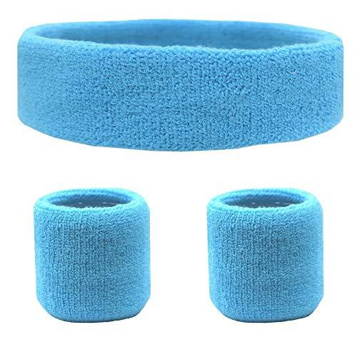 ourworld Schweißband-Set, Sport-Stirnband und Armbänder Schweißbänder Kopfband Sportliche Übung Basketball Joggen Yoga-Handgelenk-Schweißbänder (Himmelblau) (Stirnbänder übung)