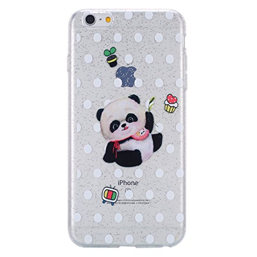 Custodia iPhone 6 Plus, Case Cover iPhone 6S Plus in Silicone Glitter TPU, Surakey Bumper iPhone 6 / 6S Plus Cover Morbida Gomma Premium Semi Hybrid Crystal Clear Cassa del Telefono con Disegno Cartoo Panda