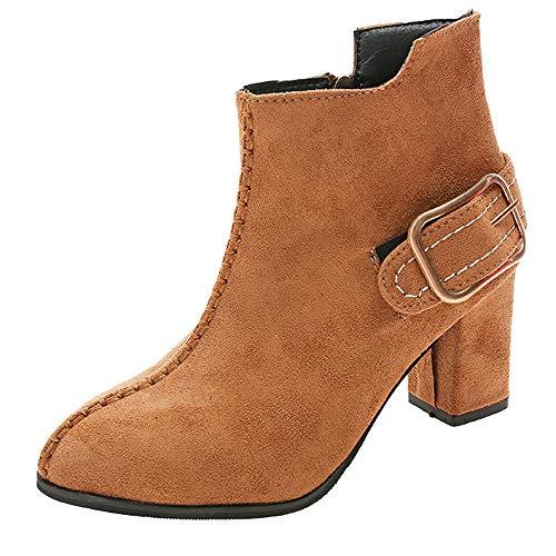 MYMYG Damen Chelsea Boots Frauen High Heel Schuhe -