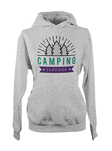 Camping Survivor Amusant Femme Capuche Sweatshirt Gris