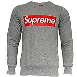 Supreme Italia Herren Sweatshirt Sweat Sweater Big Logo (S, grey-red)