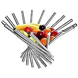 BELLE VOUS Obstschale - Kreative Faltbare Obstschale aus Edelstahl - 38 x 35 cm Moderner Anti-Rust Rotation Obstkorb - Küche Esstisch Dekoration Obstkorb Silber