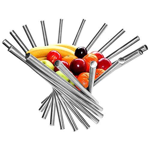 Frutero - Creativo Frutero plegable de acero inoxidable - 38 x 35 cm Moderno antioxidante giratoria Cesta de frutas como decoración para la cocina y mesa de comedor
