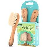 Ensemble brosse et peigne pour bébés et bébés pour nouveau-nés et tout-petits | Brosse sécurisée écologique | Peigne en bois naturel | Soies douces pour berceau de berceau |