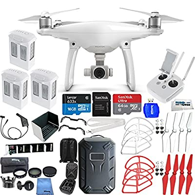 DJI Phantom 4 Quadcopter (Latin America Version) + 2 Intelligent Flight Batteries + 64GB Ultra Micro SDXC + Triple Charger Plate + 7 Piece Filter Kit + Hard Shell Backpack + Medium Sunshade & More!