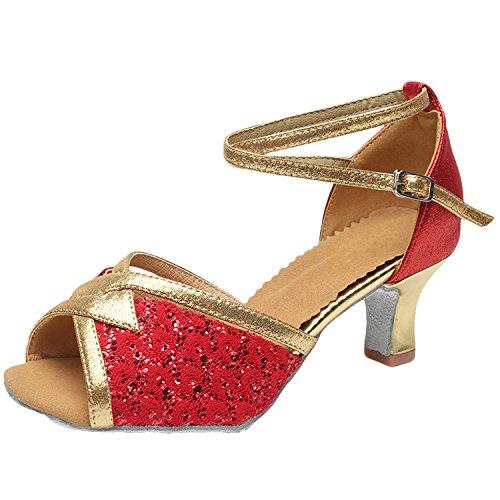 Oasap Women's Peep Toe Sequins Cross Strap High Heels Latin Dance Shoes Red