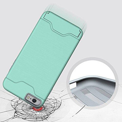 """Coque pour Apple iPhone 6Plus/6sPlus 5.5""""(NON iPhone 6/6s 4.7""""), CLTPY Simple Laser Technologie Design Cover dans Hybrid Soft TPU Silicone + Dur PC Plastique Double Couche Resistante Ultra Mince Léger Vert Clair B"""