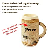 Holz Bierkrug mit Gravur – personalisiert mit Name – individuelles Geschenk, jeder Holzkrug ist ein echtes Unikat! Geschenkidee für Bierfreunde, Sammlerstück, bayerische Souvenirs – typisch deutsche Geschenke von Geschenkissimo - 3