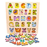 Nuheby Puzzle Bambini Alfabeto Giocattoli Legno 3 4 Anni, Gioco Incastri in Legno Lettere Alfabeto Baby Educativo Peg Puzzle Incastro Set Regalo per Bambina Bimbo Ragazza Ragazzo