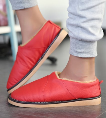 TELLW Warm Winter Leather Slippers For Men and Women Winter Shoes Indoor Soft permeability Cowhide Slippers donne rosse