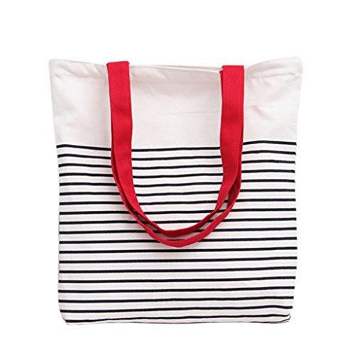 Qotone donne borsa shopping Girls casual a righe busta tela borsa a tracolla studente Bookbag White+Black White+Red