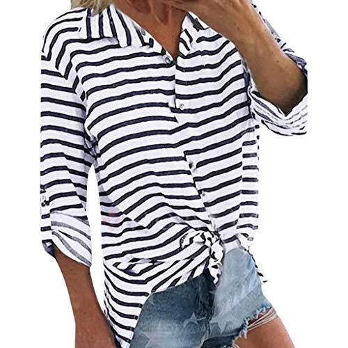 Geilisungren Damen Bluse Elegant Umlegekragen Langarm Knöpfe Hemd Casual Gestreift T-Shirt Oberteil Lose Langarmshirt Große Größen Tunika Tops für Frauen - Satin Gestreiften Hemd