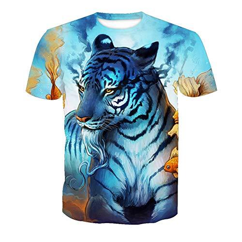 SPONSOKT Männer Klassisch T-Shirt,Bunt 3D weißer Tiger Digitales Drucken Casual T-Stück,Rundhals Atmungsaktiv Trend Kurze Ärmel Unterhemd Draussen Sport / A1 / M