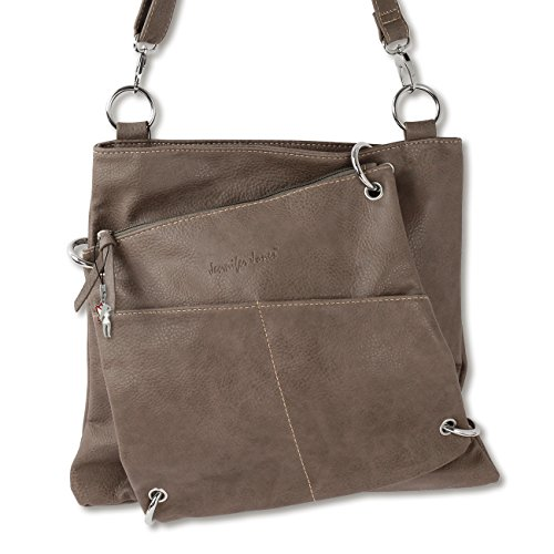 3900 Jennifer Jones Damen Umhängetasche Handtasche Schultertasche Shopper 2 in 1 Taupe