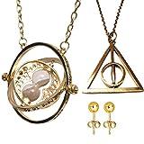 Collier et pendentif en métal. Série HARRY POTTER. Modèle 'Hermione - Retourneur de temps (Time-Turner)'. Couleur Or.