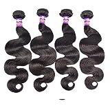 YUSHI Dames de Charme et Pas d'odeur Forte élasticité Peuvent être utilisés pour de Longs Cheveux de Teinture Grande onduleuses Perruques de Cheveux Humains 3pcs, 28 inches