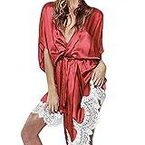 SuperSU Sexy Dessous Frauen Seide Lace Robe Kleid Babydoll Nachthemd Nightgown Nachtwäsche Damen Bademantel Kimono Satin Bademantel Prato mit Kapuze Sleepwear Overall Pyjamas