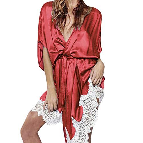 ABsoar Negligees Damen Sexy Lingerie Frauen Nachthemd Bademantel Nachtwäsche Seide Lace Robe Sleepwear Babydoll Nightgown Nachtwäsche Sleep Mantel