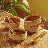 ExclusiveLane Soup Bowls With Spoons Dual Glazed Studio Pottery In Ceramic (Set Of 4) - Soup Bowls Set of 4 Ceramic Soup Dish Snack Desert Bowls Set Dinner Serving Bowls Soup Cup Bowls Kitchen Storage Tableware