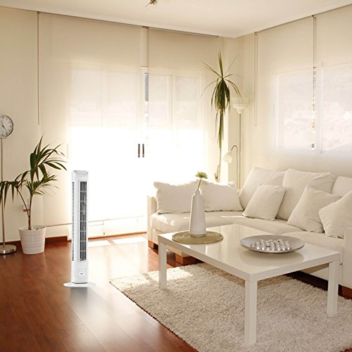 ANSIO Light Weight Oscillating Slim Tower Fan with Remote Control and 3-Speed 3-Wind Mode with Long 1.8 m Cable, 30-Inch, White (Batteries NOT included)