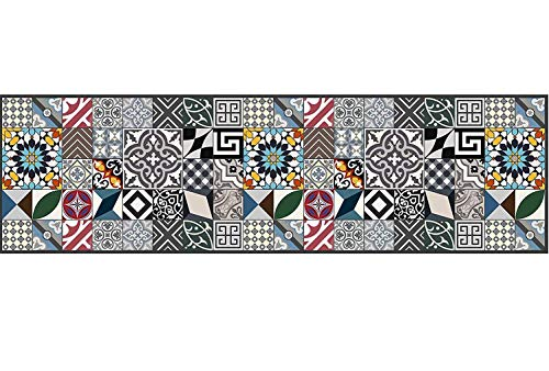 Teppichläufer/ Küchenläufer/ maschinenwaschbar, Küchenteppich/ Läufer, 52cm x 280cm, anti-milben und rutschfest,teppich küchenläufer geometrisch muster,100% Made in Italy,teppich mit digitaldruck.