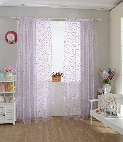 Homyl Gardine Vorhang Voile Schlaufenschal Dekoschal transparent Gardinenschal - Lila, 100 cm x 200 cm